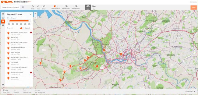 Route builder incorporates Segment Explorer and heat maps (Image credit: Strava)